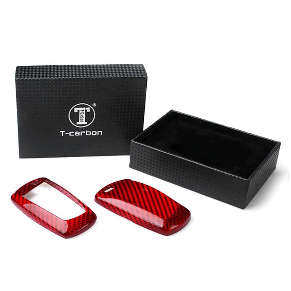 Couvercle de porte-clés coquille à distance pour BMW 1 3 5 6 7 Series X3 X5 rouge en Fiber de carbone style sans clé