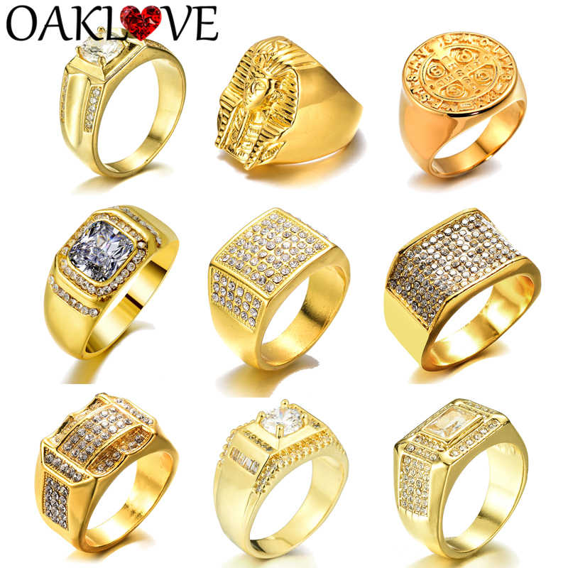 Vintage Fashion egipski faraon krzyż kwadratowy złoty kolor obrączki dla mężczyzn mężczyzna obrączka prosta biżuteria zestaw pierścieni kryształowych