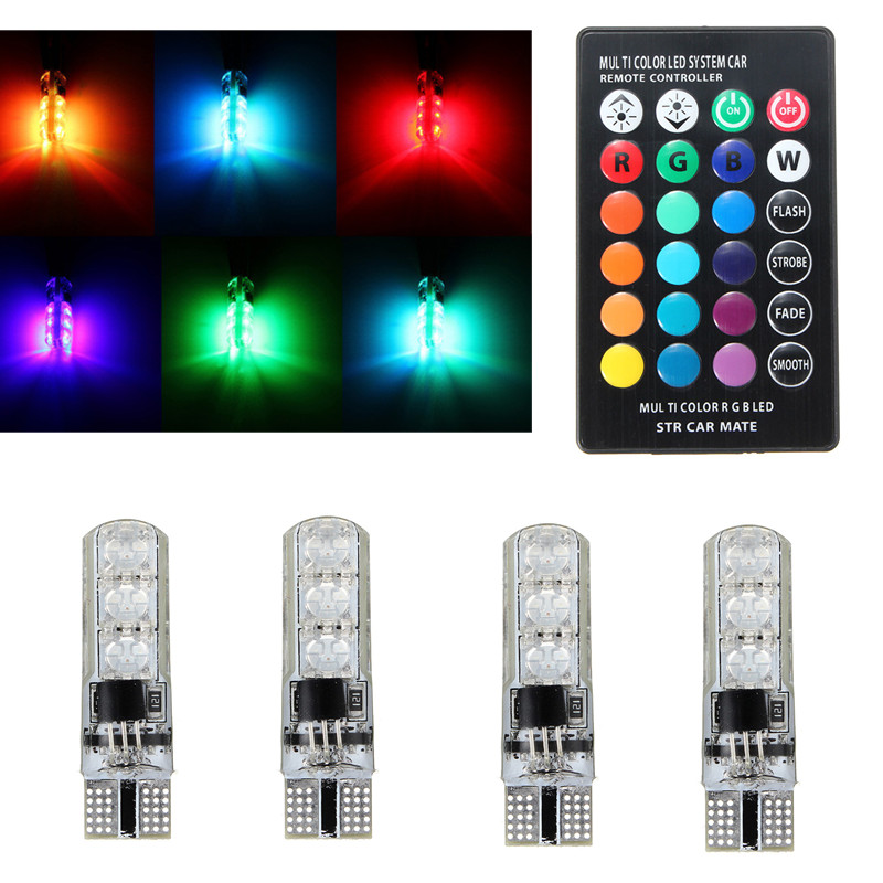 4Pcs T10 W5W LED Car Lights LED Bulbs RGB With Remote Control 194 168 501 Strobe Led Lamp Reading Lights White Red Amber DC12V
