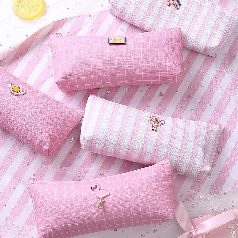 Pink Grid PU Leather Pencil Bag Cute Flamingo Unicorn Pen Bag Stationery Storage Organizer Case School Supply Student Gift