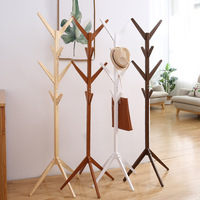 New Stand Solid wood floor coat rack Simple Assembly Triangle Base clothes shelves hanger home storage bedroom furniture