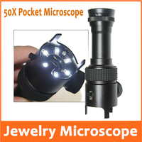 50X LED Illuminated Emerald Jade Identification Magnifier Pocket Microscope Loupe with Lamps Measuring Scale Graticule 0.05mm