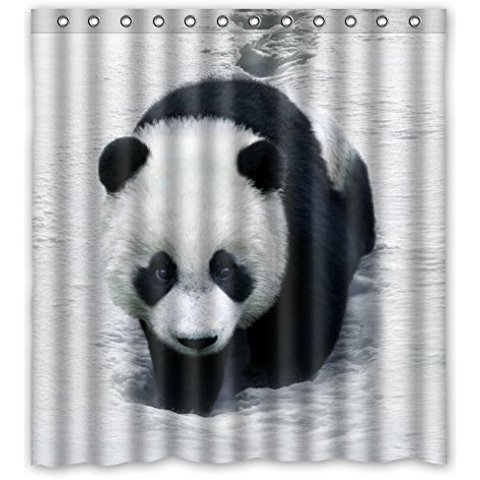 Black White Cute Bear Shower Curtain 66Wx72H Inch With 12 Holes To Which Rings Attach