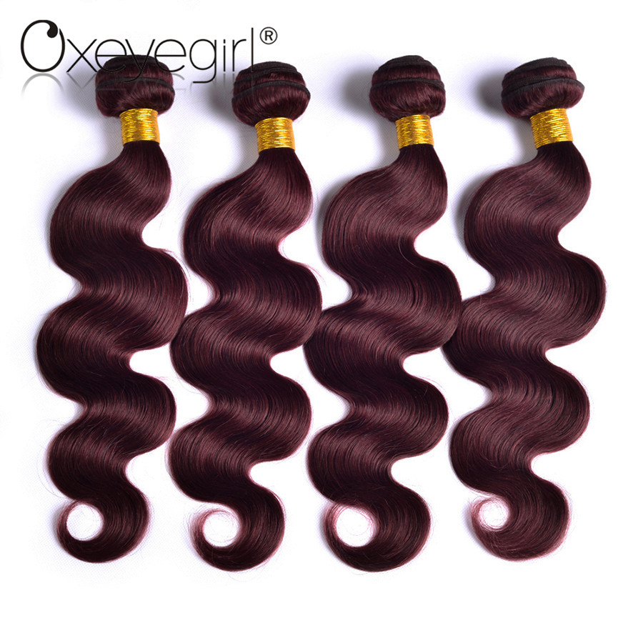 4 Bundle Deals Burgundy Brazilian Hair Weave Bundles Body Wave Human Hair Bundles 99J Red Non Remy Hair Extensions Oxeye girl