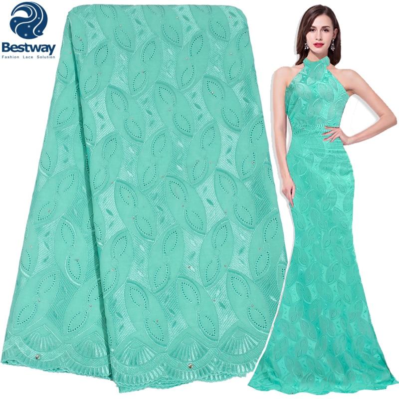 Bestway Broderad Cotton Swiss Voile Lace Fabric Torkduk Material Med - Konst, hantverk och sömnad - Foto 1