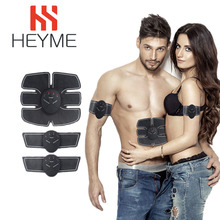 HEYME Body Massage Electric Muscle Stimulator EMS Trainer ABS Abdominal Muscle Trainer Roller Sticker Slimming Machine Massage I
