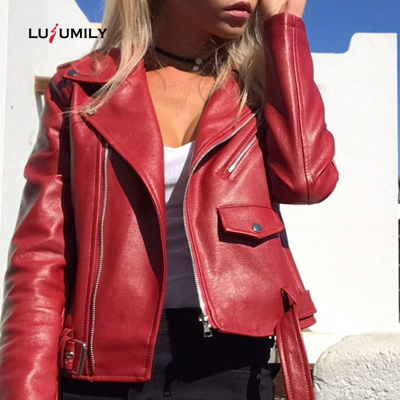 Lusumily Brand Faux Women   Leather   Jacket Coat Short Red Black PU Motorcycle   Leather   Jackets Female Streetwear 2019 New Outerwear