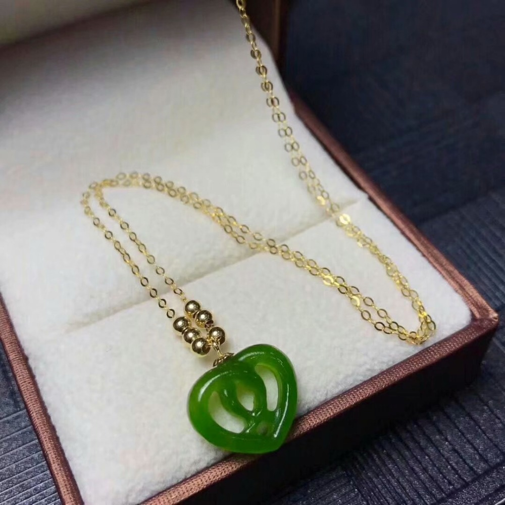 SHILOVEM 18k YELLOW gold Natural green Jasper pendants  classic fine Jewelry women wedding new plant  mymz1213.5hby