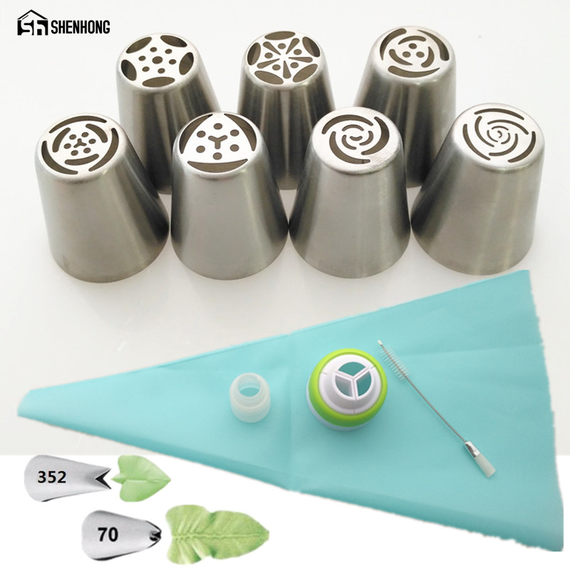 SHENHONG 13PCS Russian Cake Nozzles Silicone Bage And Coupler Icing Piping Nozzle Rose Pastry Tips Cupcake Decorating Tools