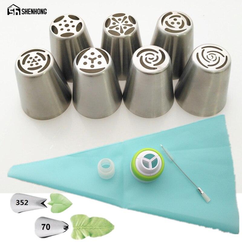 SHENHONG 13 STÜCKE Russische Kuchen Düsen Silikon Bage Und Koppler Zuckerglasur-friedliche Düse Rose Pastry Tipps Cupcake Dekorieren Tools