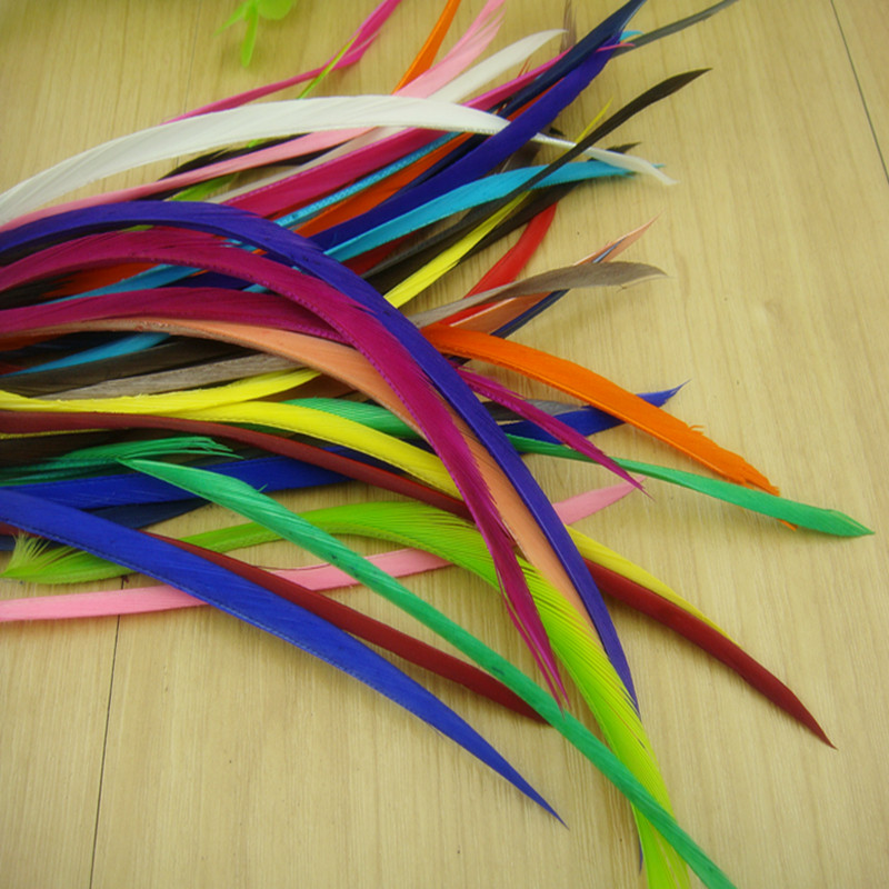 Dyed Single Feather Hair Extension Acc Dyed Single Goose Biots Loose Feathers For Fascinators Sinamay Hat Mask Accessories Black