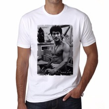 2017 New Man Casual T Shirt Tops Tee Bruce Lee, Celebrity, Star, White Cotton T-Shirt, Ideal Gift print Your Own Tee Shirt