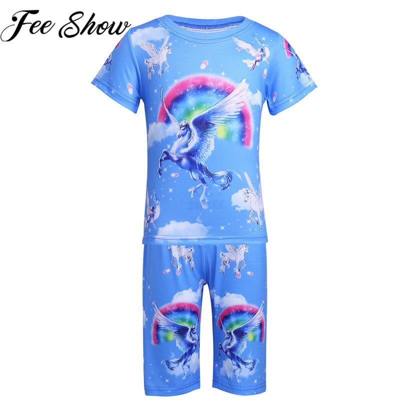 18M-6Y Одежда для девочек и мальчиков Рубашка с короткими рукавами милый единорог Радуга облако узор топы со штанами Детский комплект Детские ...
