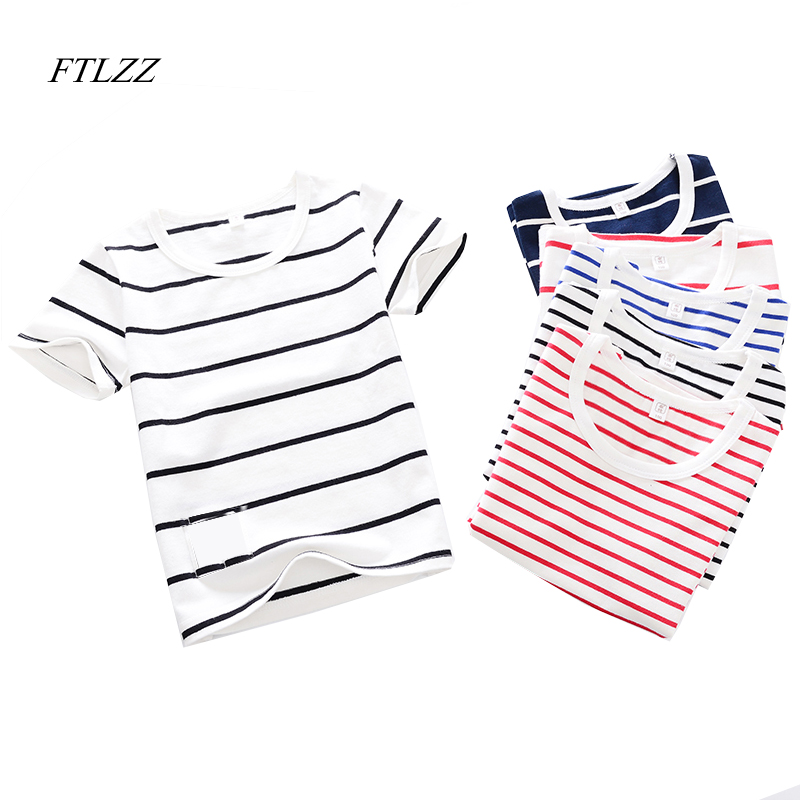 FTLZZ Girl Boy T Shirt Summer Clothes Children T-shirts Short Sleeve Striped Cotton Kids Boys Clothing Tops summer t shirts for boys cotton kids shirts dinosaur short sleeve pullover clothes v neck boy t shirt fashion children clothing