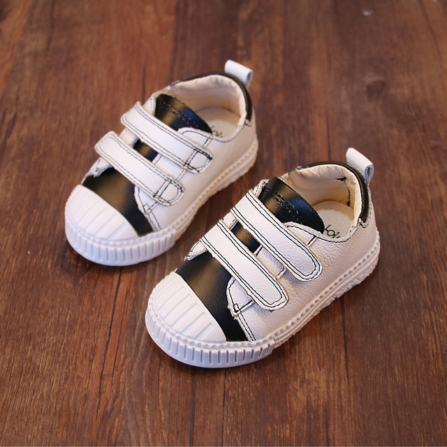 Baby Genuine Leather Lovely White Shoes For Boys/Girls 1-2 Years Patch Color Kids Shoes 2017 New Arrival Children Sneaker A01202