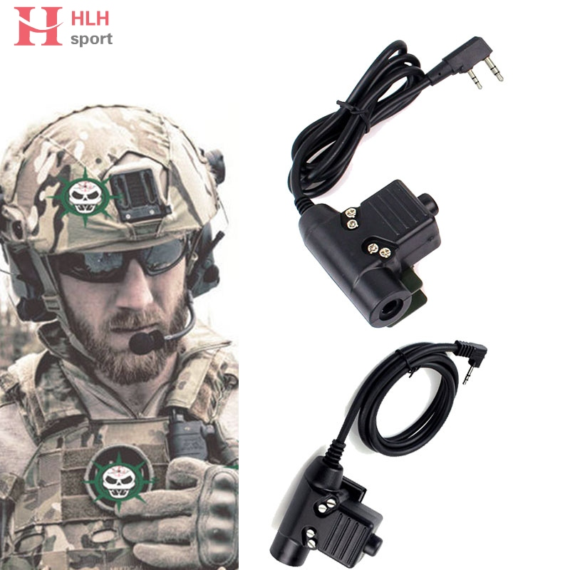 HlhSport Tactical U94 Headset Ptt Radio Cable Plug for Kenwood Motolora Bowman Ptt Paintball Hunting Headset Accessories