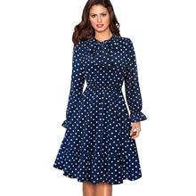 Spring Autumn Long Sleeve Swing Skater Women Dress Vintage Polka Dot Prom Office Party Dress EA130