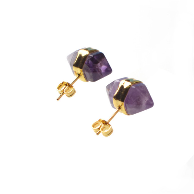 Fashion Earrings Purple Natural Stone Stud Earings Opal Black Onyx Quartz Earring For Women Aretes