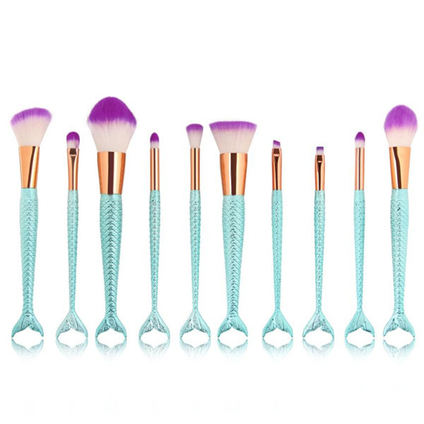 Newest 10PCS Mermaid Color Make Up Brushes Foundation Eyebrow Eyeliner Blush Cosmetic Blending Concealer Beauty Makeup Brushes lowrance elite 3x dsi
