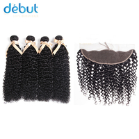 Debut Peruvian Hair 4 Bundles Jerry Curl 10 26 Inch Natural Color Human Hair Extension With 13X4 Lace Free Part Closure