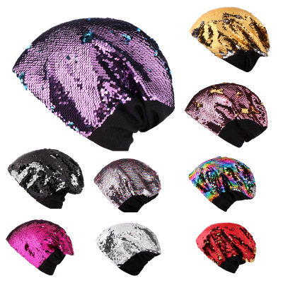 Women Knitted Paillette Bling Cap Casual Glossy   Beanies   Hat flipped over   Skullies     Beanie   Sequin knited Caps Soft Warm Slouch Hat