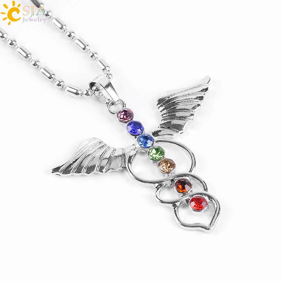 CSJA 7 Chakra Rhinestone ลูกปัดสร้อยคอจี้ Angel Wings Tree of Life OM 3D โยคะ Reiki Healing Point สมาธิลูกตุ้ม e604