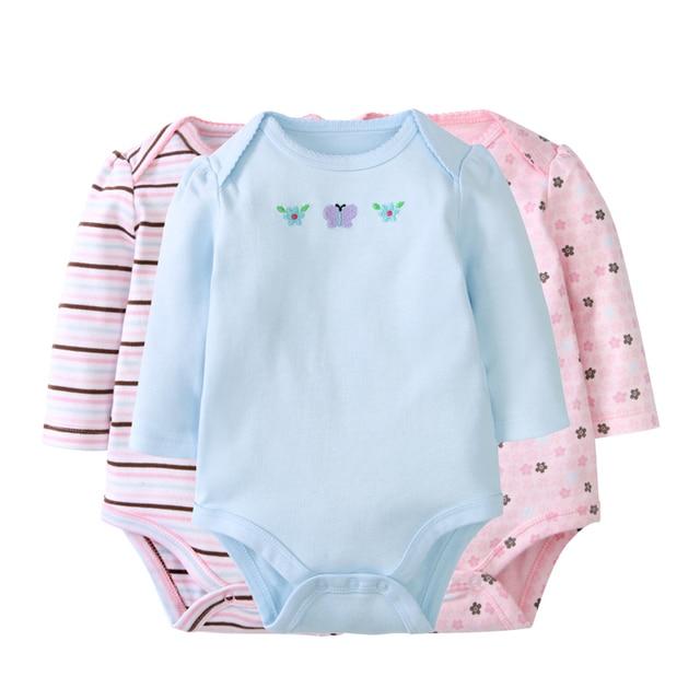 94ebd12c7f68 3 Pack Baby Girl Rompers Cotton Full Infant Jumpsuit Spring Boys ...