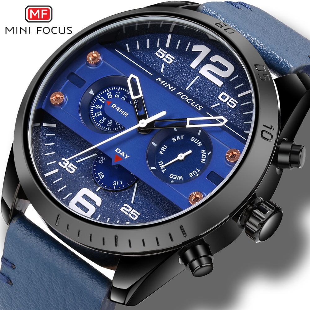 montre homme Sport Multifunction Quartz Wrist Watch Mini Focus Fashion Male Watches Blue Dial Day Week Analog Display Clock Men