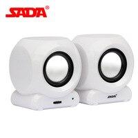 SADA V-169 Mini USB Moc Głośników 3.5mm AUX in Dla PC MP3 Telefon Komórkowy Laptop 2.0 Stereo Głośniki Multimedialne