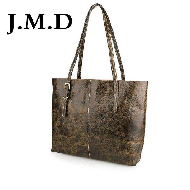J.M.D 100% Guarantee Genuine Leather Genuine Vintage Leather Tote Bag Handbag Shoulder Bag for Women  7272 jmd 100% guarantee genuine vintage leather women s tote shoulder bag for shopping 7271c