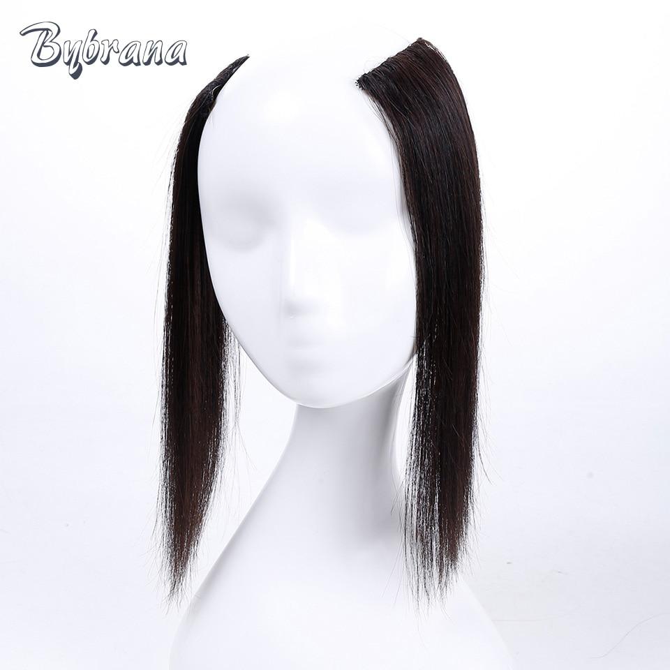 Bybrana 3 farver Human Remy Hair Natural Color Flere størrelser - Menneskehår (sort)