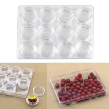YAS Clear Plastic Earring Jewelry Beads Packing Box Container 12 Compartments New