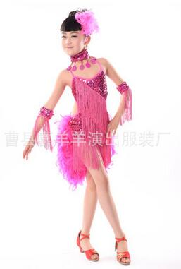 1set/lot free shipping Kids Sequin tassel latin dress Stage Performance Ballroom Dance Costume Latin Dance Dress For Girls