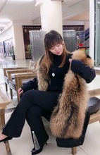 2019 New style to overcome / female Pike King raccoon whole leather liner fur school long