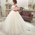 Vestido de noiva Vintage Long Sleeves Wedding Dresses Sheer Tulle Back Lace Appliques Wedding Gowns Bead Belt Wedding Dress