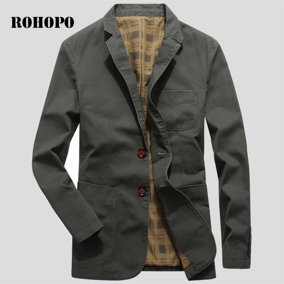 ROHOPO 100% Cotton Casual Slim Fit Men Blazer 2019,Plaid Lining Motor & Biker Deportes Mens Blazers, Army Green Blazer Male