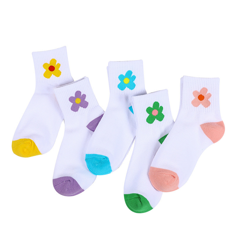 SP&CITY  Floral Patterned Short Funny Socks Cotton Women Solid Casual Cute Harajuku Socks Vintage Chic Flower Ankle Art Socks