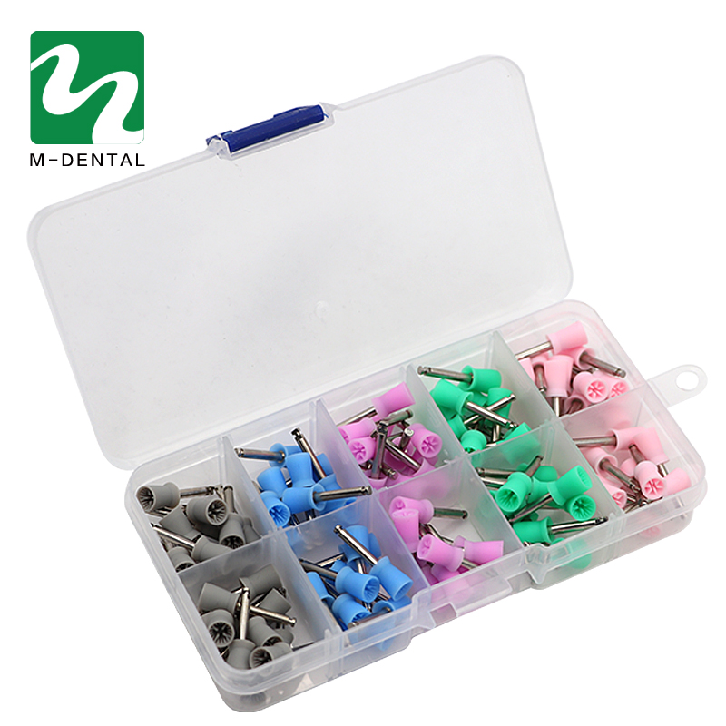100pcs Dental Prophy Cup Rubber Polish Polishing Tooth Latch Type Mixed Color For Dental Lab