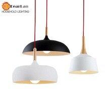 Современный подвесной светильник из дерева и алюминия black/ белый ресторан бар кофе столовая светодиодный деревянный свет