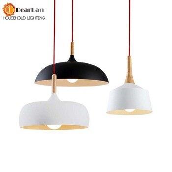 Moderna luz pingente de madeira e alumínio da lâmpada preto/branco restaurante bar café sala jantar luz led madeira frete grátis
