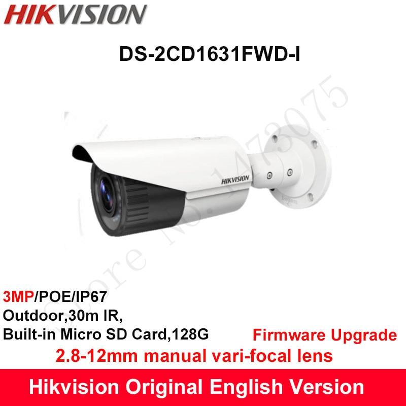 Hikvision English Security Camera DS-2CD1631FWD-I replace DS-2CD2635F-IS/ZJ 3MP CCTV IP camera vari-focal lens 2.8-12mm POE IP67 датчики сигнализации homi security hg zj hg zj