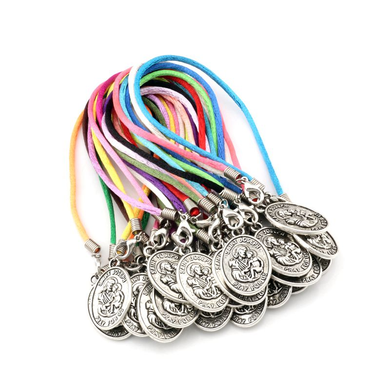 "30pcs Zinc Alloy ""SAINT JOSEPH PRAY FOR US"" Medal Pendants Chinese knot wire Bracelets handmade DIY Jewelry Party Gifts C-25"
