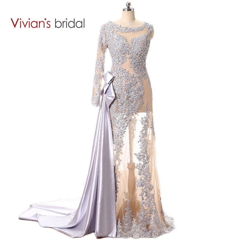 Vivian's Bridal One Shoulder Långärmad Lace Sequin Mermaid Evening Dress Se genom Prom Dress Long With A Train