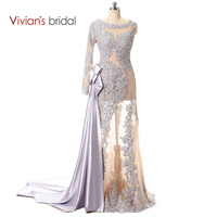 Vivian's Bridal One Shoulder Long Sleeve Lace Sequin Mermaid Evening Dress See Through Prom Dress Long With A Train