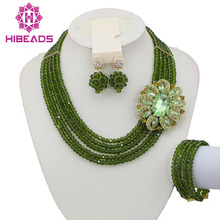Top Quantily African Costume Necklace Set 5 Rows Crystal Beads Jewelry Set Olive Green Nigerian Wedding