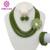 Top Quantily Collar Set 5 Filas Granos Cristalinos de La Joyería de Traje Africana Set Joyería de Los Granos de Nigeria Boda Verde Oliva Conjunto AEJ092