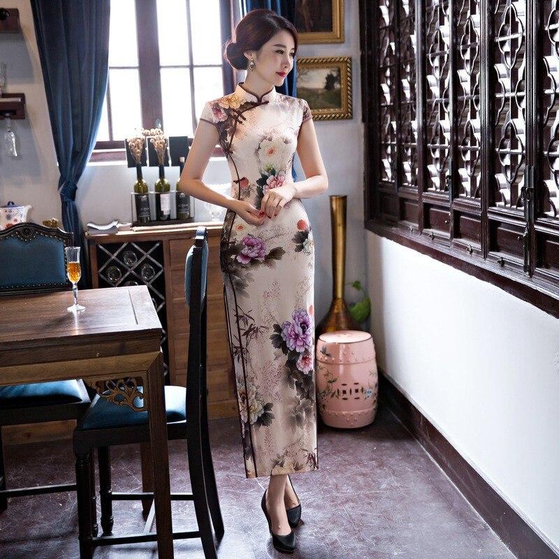 New Arrival Women's Silk Long Cheongsam Fashion Chinese Style Dress Elegant Slim Qipao Tang Clothing Size S M L XL XXL F072641 4