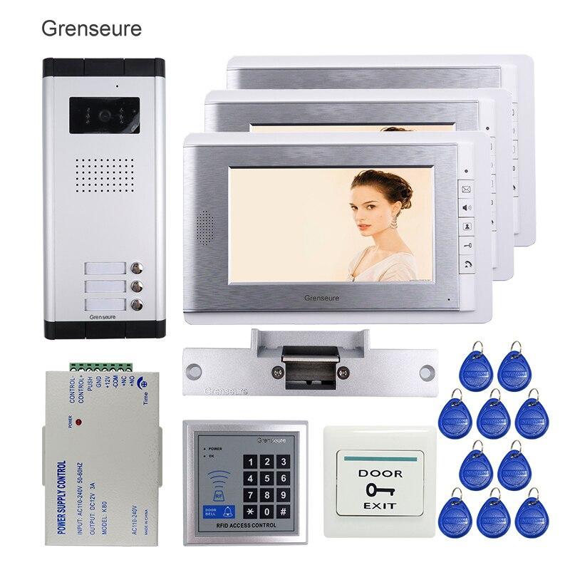 FREE SHIPPING New 7 inch Video Intercom Door Phone Kit 3 Screen + 1 Outdoor Doorbell Camera for 3 Apartment + RFID + Strike Lock