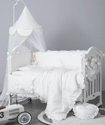 6Pcs Baby Bedding Set Bumper Cotton Solid Color Lace Crib Baby Bed Set Linens Baby Cot Bumpers Infant Mattress Cover Pillowcase