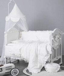 6Pcs Baby Bettwäsche Set Stoßstange Baumwolle Einfarbig Spitze Krippe Baby Bett Set Bettwäsche Babybett Stoßstangen Infant Matratze abdeckung Kissenbezug